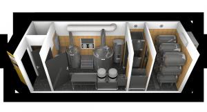 Minipivovar MOBBEER 1-kontejnerový - interiér