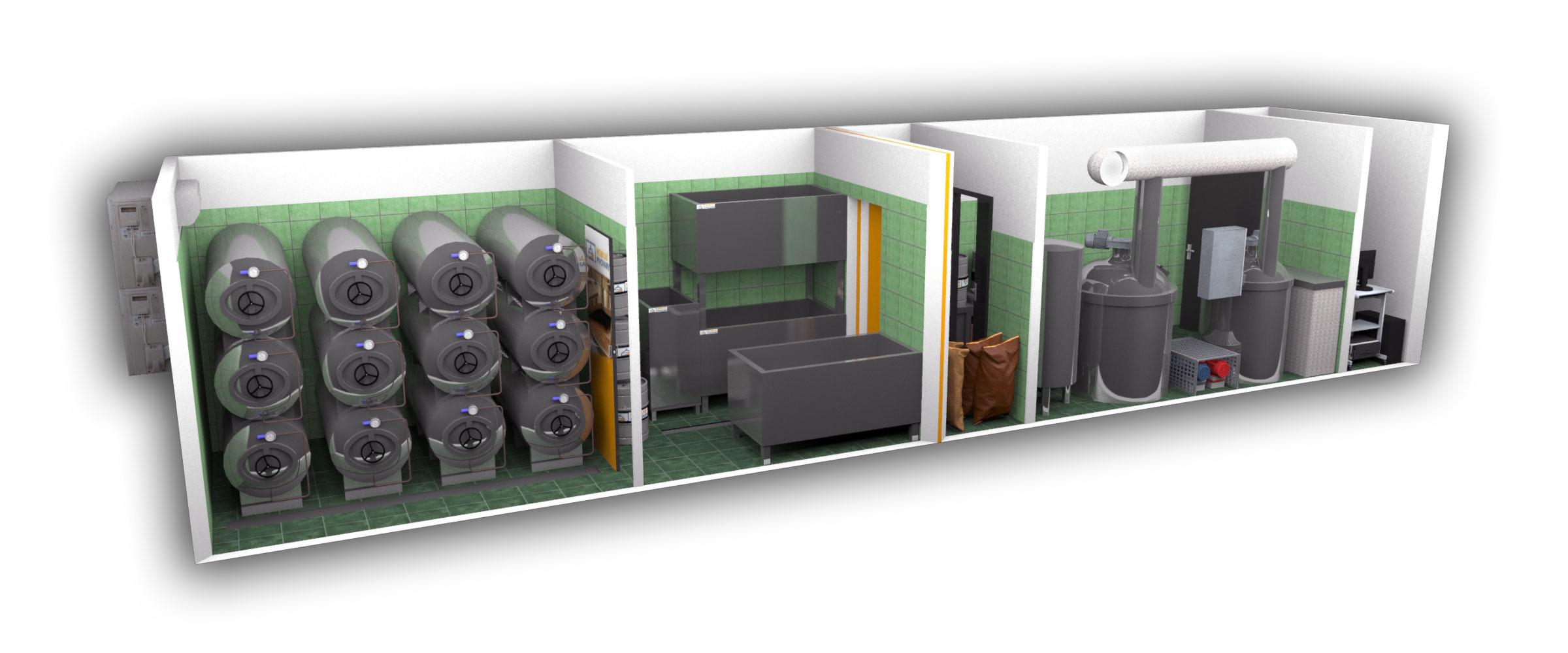 2-kontejnerový minipivovar MOBBEER - sériové sestavení - interiér