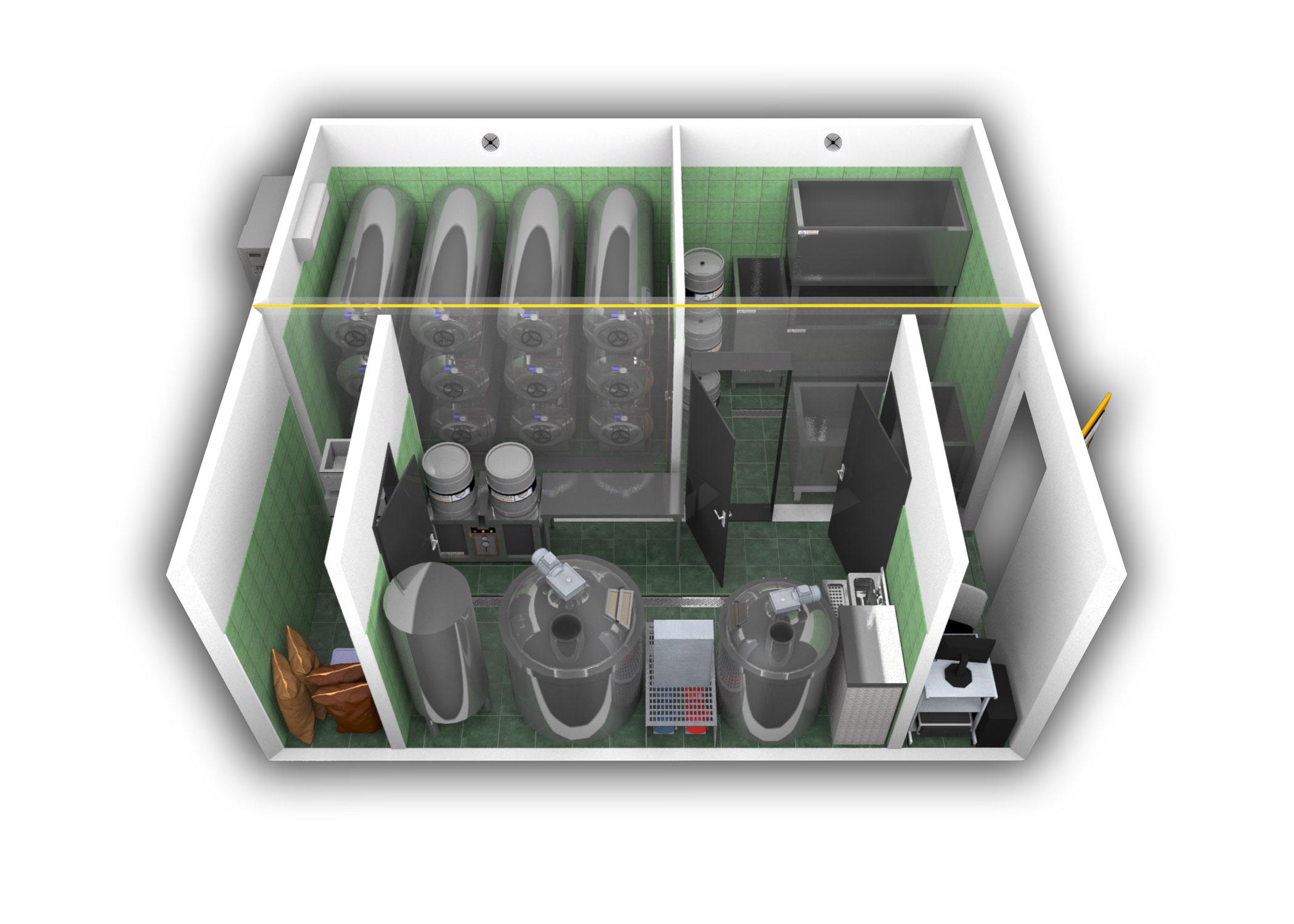 2-kontejnerový minipivovar MOBBEER - paralelní sestavení - interiér
