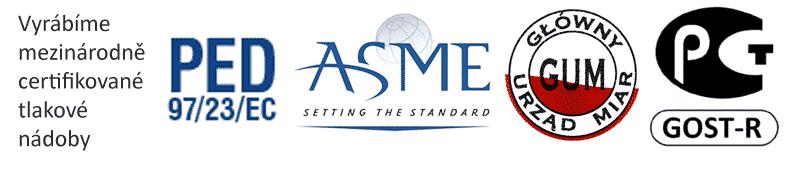 Certifikáty PED - ASME - GUM - GOST
