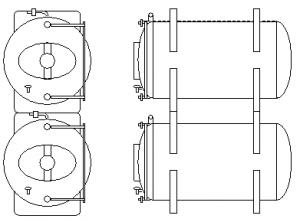 Servisní přetlačné tanky horizontální neizolované