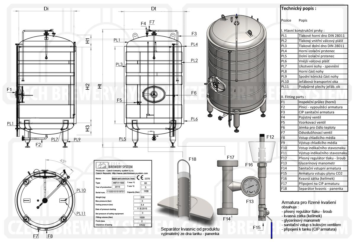 Ležácký tank izolovaný chlazený kapalinou - popis