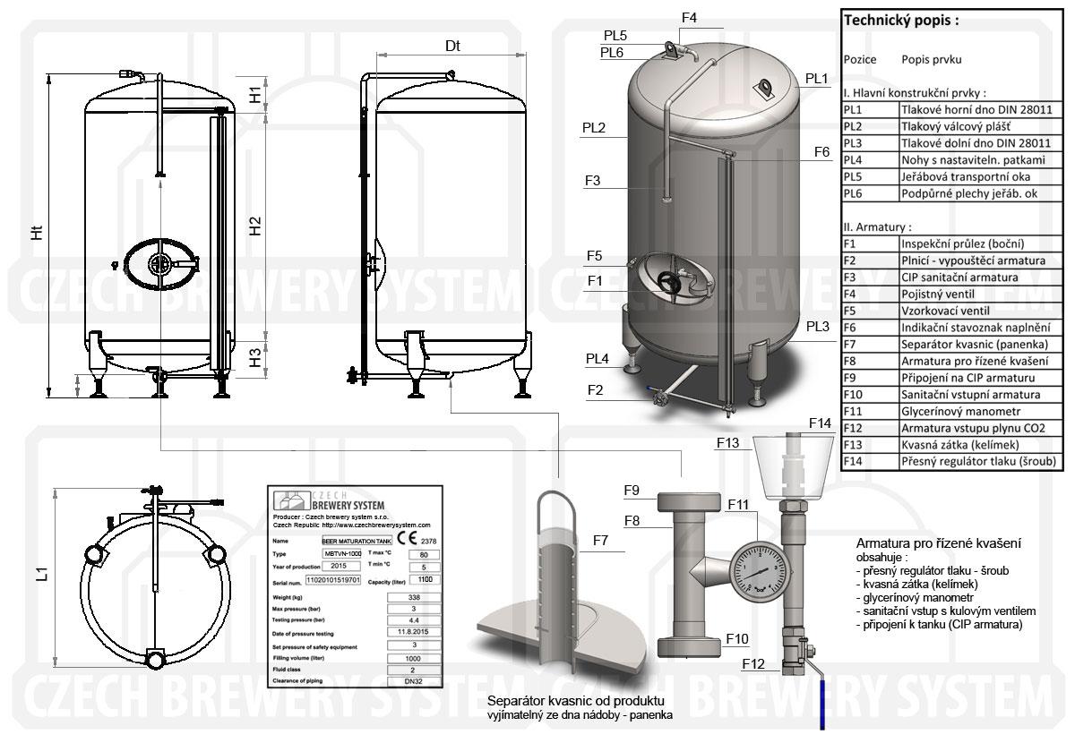 Ležácký tank neizolovaný chlazený vzduchem - popis